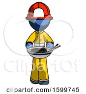Blue Firefighter Fireman Man Serving Or Presenting Noodles