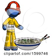Blue Firefighter Fireman Man And Noodle Bowl Giant Soup Restaraunt Concept