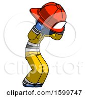 Blue Firefighter Fireman Man With Headache Or Covering Ears Turned To His Right