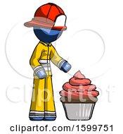 Blue Firefighter Fireman Man With Giant Cupcake Dessert