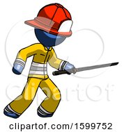 Blue Firefighter Fireman Man Stabbing With Ninja Sword Katana