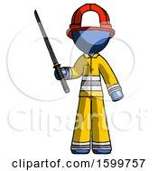 Blue Firefighter Fireman Man Standing Up With Ninja Sword Katana