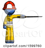 Blue Firefighter Fireman Man Standing With Ninja Sword Katana Pointing Right