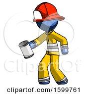 Blue Firefighter Fireman Man Begger Holding Can Begging Or Asking For Charity Facing Left