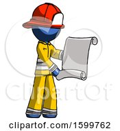 Blue Firefighter Fireman Man Holding Blueprints Or Scroll
