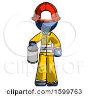 Blue Firefighter Fireman Man Begger Holding Can Begging Or Asking For Charity