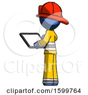 Blue Firefighter Fireman Man Looking At Tablet Device Computer With Back To Viewer