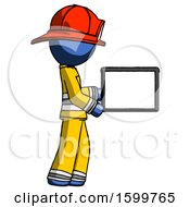 Blue Firefighter Fireman Man Show Tablet Device Computer To Viewer Blank Area