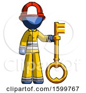 Blue Firefighter Fireman Man Holding Key Made Of Gold