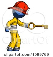 Blue Firefighter Fireman Man With Big Key Of Gold Opening Something