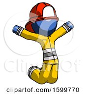Blue Firefighter Fireman Man Jumping Or Kneeling With Gladness