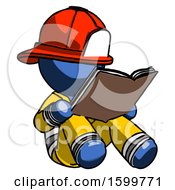 Poster, Art Print Of Blue Firefighter Fireman Man Reading Book While Sitting Down