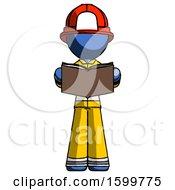 Poster, Art Print Of Blue Firefighter Fireman Man Reading Book While Standing Up Facing Viewer