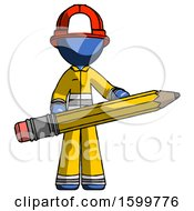 Blue Firefighter Fireman Man Writer Or Blogger Holding Large Pencil