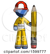 Blue Firefighter Fireman Man With Large Pencil Standing Ready To Write