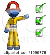 Blue Firefighter Fireman Man Standing By List Of Checkmarks