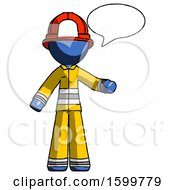 Blue Firefighter Fireman Man With Word Bubble Talking Chat Icon
