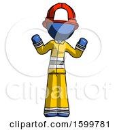 Blue Firefighter Fireman Man Shrugging Confused
