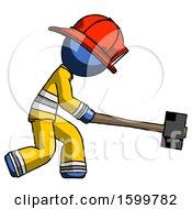 Blue Firefighter Fireman Man Hitting With Sledgehammer Or Smashing Something