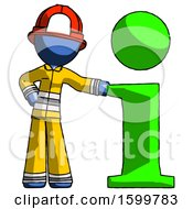 Blue Firefighter Fireman Man With Info Symbol Leaning Up Against It