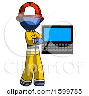 Blue Firefighter Fireman Man Holding Laptop Computer Presenting Something On Screen