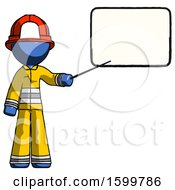Blue Firefighter Fireman Man Giving Presentation In Front Of Dry Erase Board