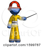 Blue Firefighter Fireman Man Teacher Or Conductor With Stick Or Baton Directing