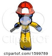 Blue Firefighter Fireman Man Looking Down Through Magnifying Glass