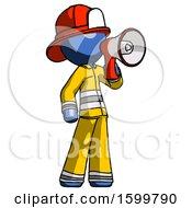 Blue Firefighter Fireman Man Shouting Into Megaphone Bullhorn Facing Right
