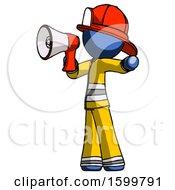 Blue Firefighter Fireman Man Shouting Into Megaphone Bullhorn Facing Left