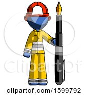 Poster, Art Print Of Blue Firefighter Fireman Man Holding Giant Calligraphy Pen
