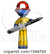 Blue Firefighter Fireman Man Posing Confidently With Giant Pen