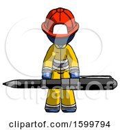 Blue Firefighter Fireman Man Weightlifting A Giant Pen