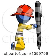 Blue Firefighter Fireman Man Posing With Giant Pen In Powerful Yet Awkward Manner