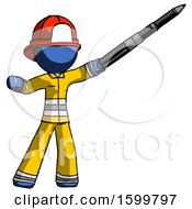 Blue Firefighter Fireman Man Demonstrating That Indeed The Pen Is Mightier