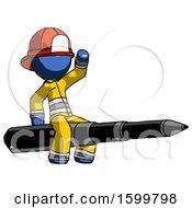 Blue Firefighter Fireman Man Riding A Pen Like A Giant Rocket