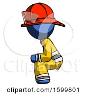 Blue Firefighter Fireman Man Squatting Facing Left