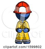 Blue Firefighter Fireman Man Squatting Facing Front