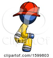Blue Firefighter Fireman Man Squatting Facing Right