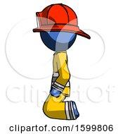 Blue Firefighter Fireman Man Kneeling Left