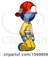 Blue Firefighter Fireman Man Kneeling Angle View Right