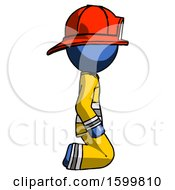 Blue Firefighter Fireman Man Kneeling Right