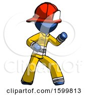 Blue Firefighter Fireman Man Martial Arts Defense Pose Right