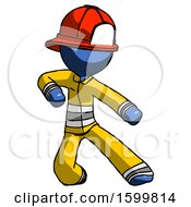 Blue Firefighter Fireman Man Karate Defense Pose Right