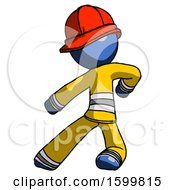Blue Firefighter Fireman Man Karate Defense Pose Left