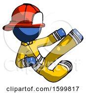 Blue Firefighter Fireman Man Flying Ninja Kick Right