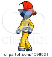 Blue Firefighter Fireman Man Man Walking Turned Left Front View