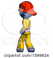 Blue Firefighter Fireman Man Walking Away Direction Left View