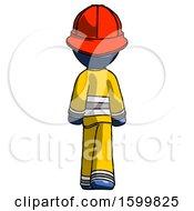 Blue Firefighter Fireman Man Walking Away Back View
