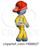 Blue Firefighter Fireman Man Walking Away Direction Right View